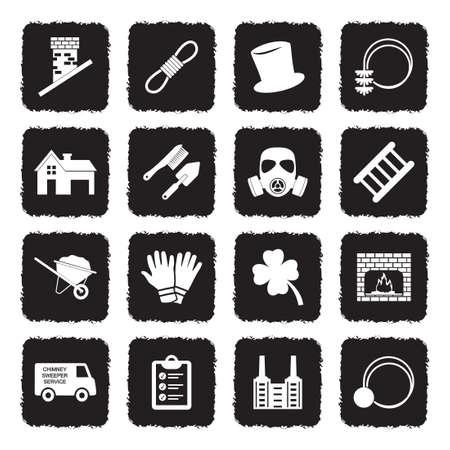 Iconos de barrendero. Diseño plano negro grunge. Ilustración de vector.