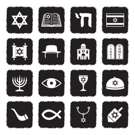 Judaism Icons. Grunge Black Flat Design. Vector Illustration.