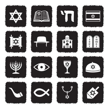 Judaism Icons. Grunge Black Flat Design. Vector Illustration.