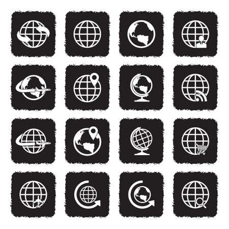 Earth Globe Icons. Grunge Black Flat Design. Vector Illustration.