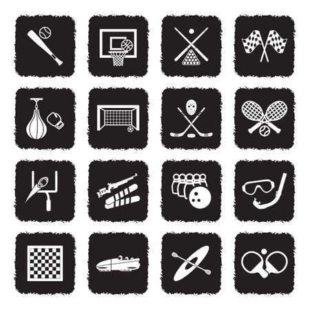 Sports Icons. Grunge Black Flat Design. Vector Illustration.