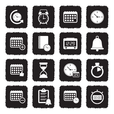 Time And Schedule Icons. Grunge Black Flat Design. Vector Illustration.