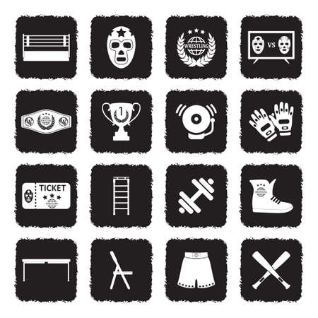 Wrestling Icons. Grunge Black Flat Design. Vector Illustration. Vektorové ilustrace