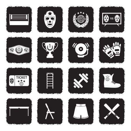 Wrestling Icons. Grunge Black Flat Design. Vektor-Illustration. Vektorgrafik