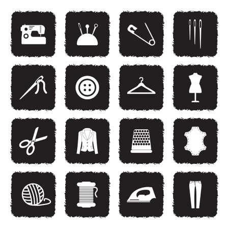 Sewing Icons. Grunge Black Flat Design. Vector Illustration. Vektorové ilustrace