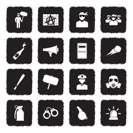 Protest And Demonstration Icons. Grunge Black Flat Design. Vector Illustration.