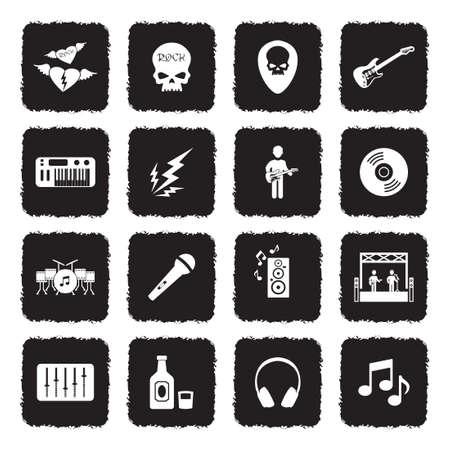 Iconos de la música rock. Diseño plano negro grunge. Ilustración de vector. Ilustración de vector