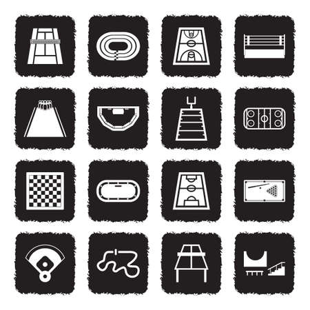 Playing Fields Icons. Grunge Black Flat Design. Vector Illustration. Banque d'images - 106700428