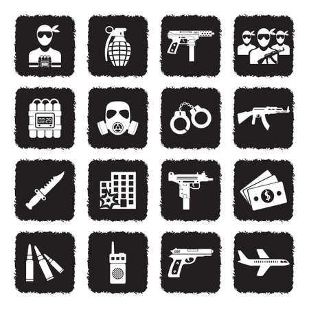 Icone terroristiche. Design piatto nero grunge. Illustrazione vettoriale.