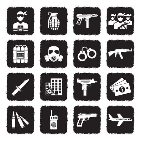 Terrorist Icons. Grunge Black Flat Design. Vector Illustration.