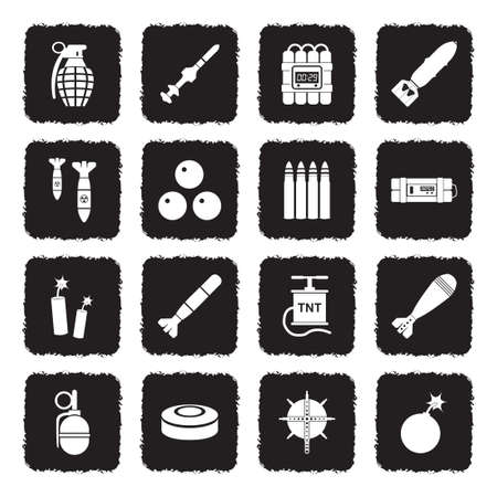 Bombs And Explosives Icons. Grunge Black Flat Design. Vector Illustration. Иллюстрация