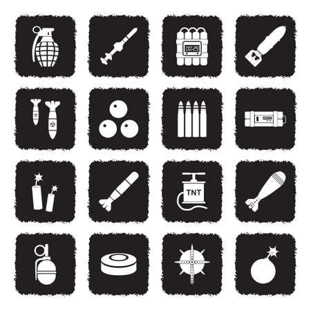 Bombs And Explosives Icons. Grunge Black Flat Design. Vector Illustration. Illustration