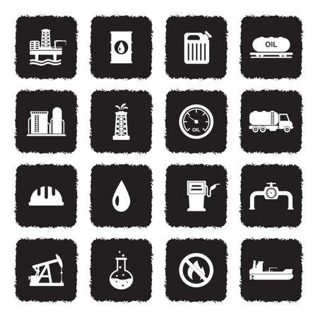 Icônes de l'industrie pétrolière. Design plat noir grunge. Illustration vectorielle. Vecteurs