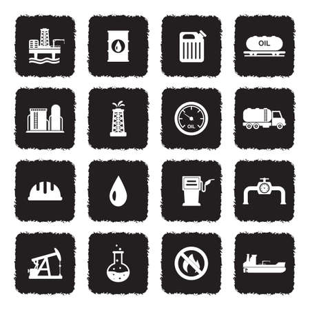Oil Industry Icons. Grunge Black Flat Design. Vector Illustration.