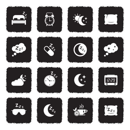 Sleep Icons. Grunge Black Flat Design. Vector Illustration.