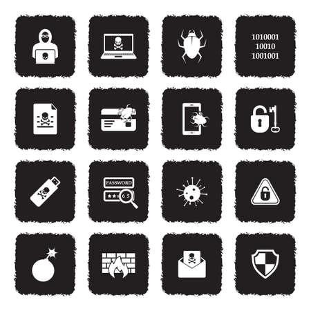 Hacker Icons. Grunge Black Flat Design. Vector Illustration.