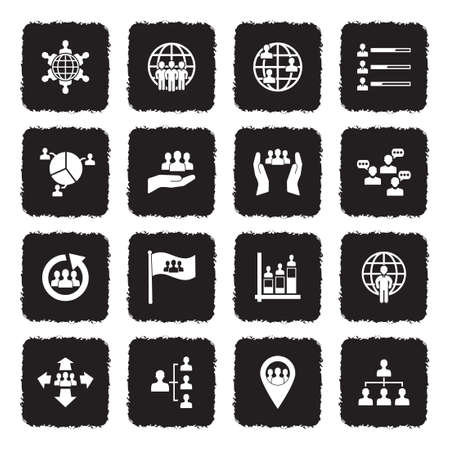 Population Icons. Grunge Black Flat Design. Vector Illustration.