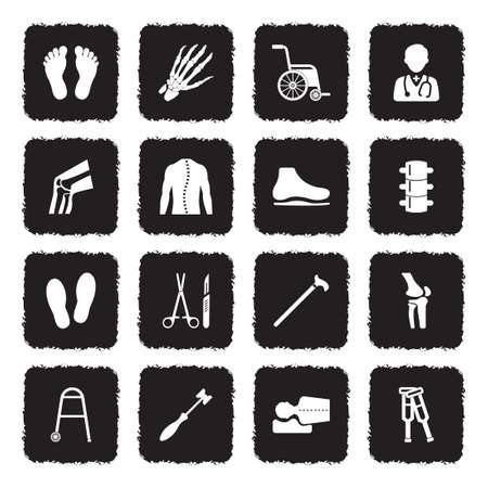 Orthopedic Icons. Grunge Black Flat Design. Vector Illustration.