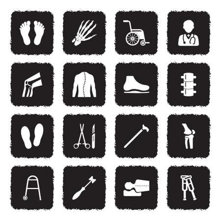 Orthopedische pictogrammen. Grunge zwart plat ontwerp. Vector illustratie