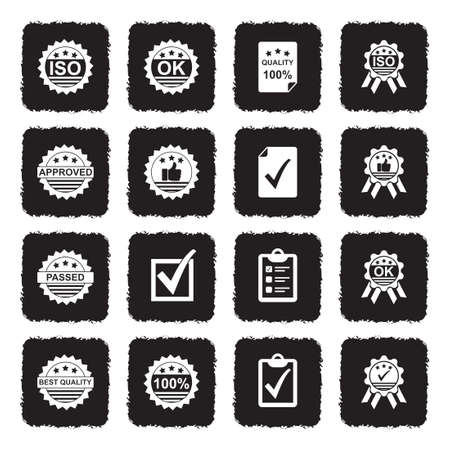 Quality Control Icons. Grunge Black Flat Design. Vector Illustration.