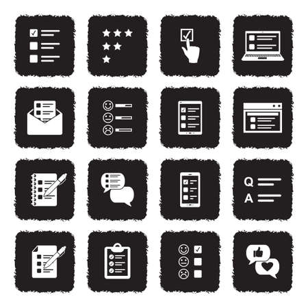 Survey Icons. Grunge Black Flat Design. Vector Illustration.