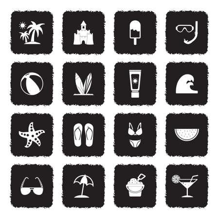 Iconos de playa. Diseño plano negro grunge. Ilustración de vector.