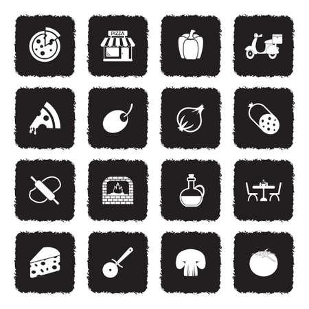 Pizza Icons. Grunge Black Flat Design. Vector Illustration.  イラスト・ベクター素材