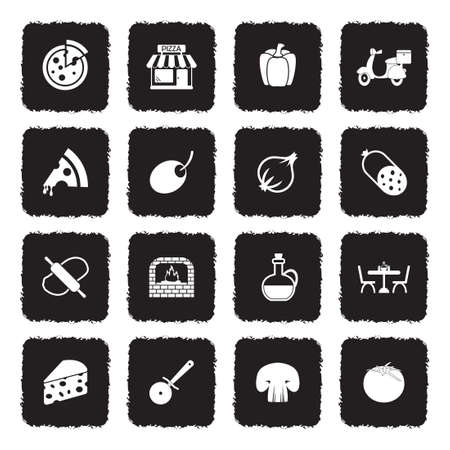 Pizza Icons. Grunge Black Flat Design. Vector Illustration. Illustration
