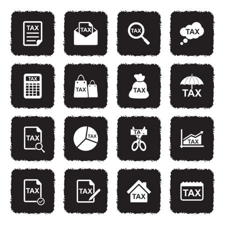Tax Icons. Grunge Black Flat Design. Vector Illustration. Vectores