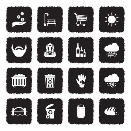 Homeless Icons. Grunge Black Flat Design. Vector Illustration.