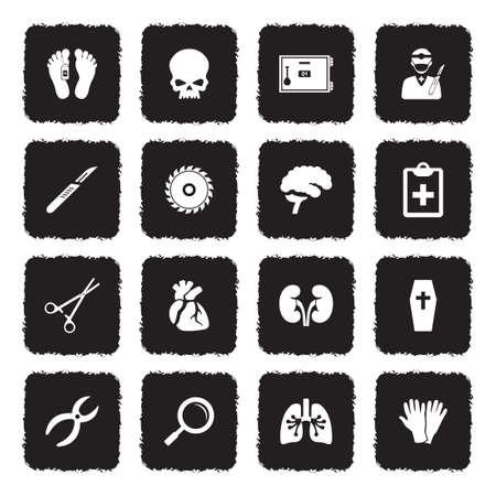 Iconos de la morgue. Diseño plano negro grunge. Ilustración de vector.