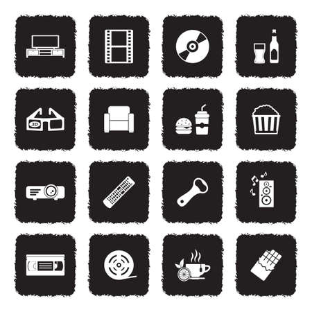 Movie Night Icons. Grunge Black Flat Design. Vector Illustration.