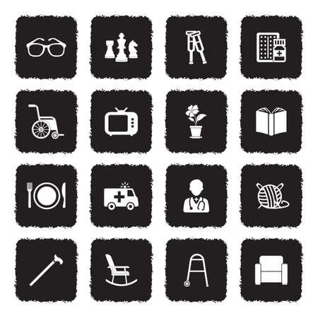 Nursing Home Icons. Grunge Black Flat Design. Vector Illustration.
