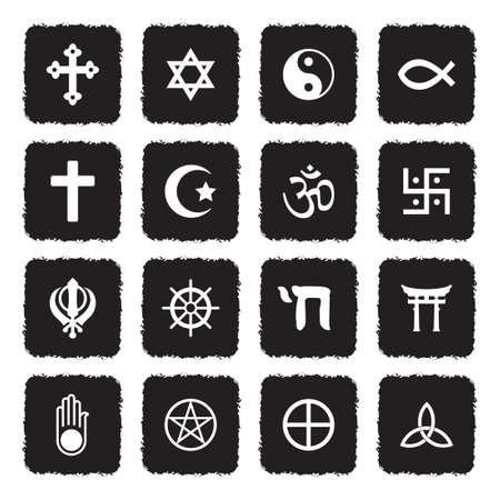 Religion Symbols Icons. Grunge Black Flat Design. Vector Illustration.