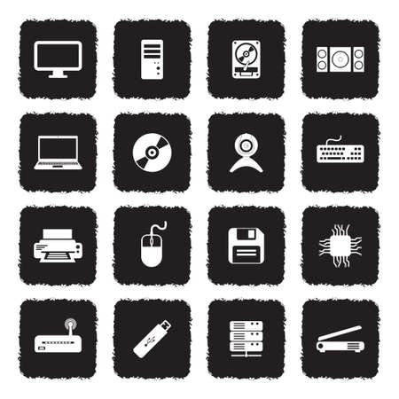 Computer Hardware Icons. Grunge Black Flat Design. Vector Illustration.