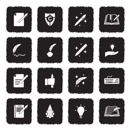 Copywriting Icons. Grunge Black Flat Design. Vector Illustration.  イラスト・ベクター素材
