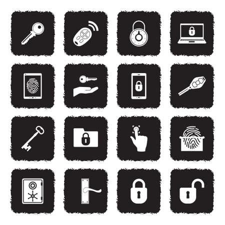 Keys And Locks Icons. Grunge Black Flat Design. Vector Illustration. Çizim