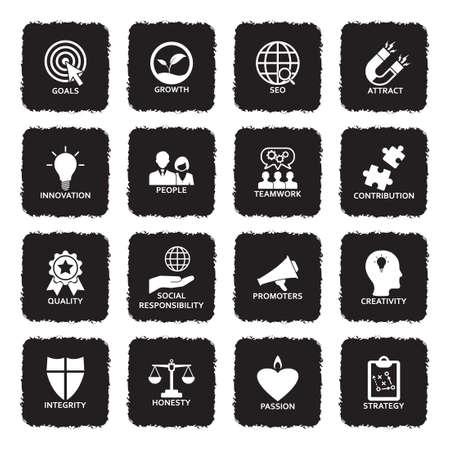 Icone di valori fondamentali dell'azienda. Design piatto nero grunge. Illustrazione vettoriale.