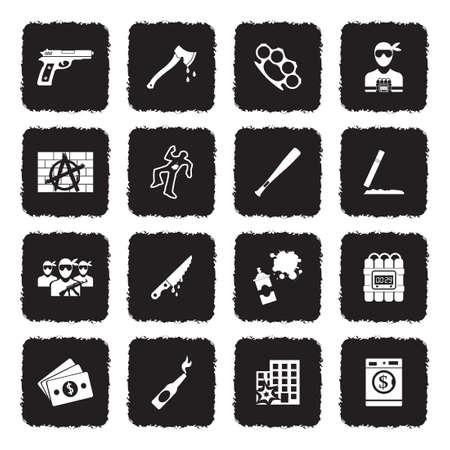 Crime Icons. Grunge Black Flat Design. Vector Illustration. Illustration