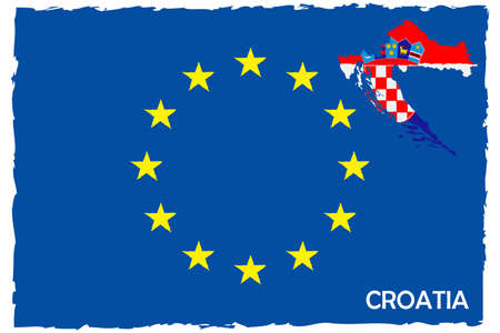 European Union Flag & Croatia Map With Flag. EU Member. Hand Painted with Brush. Vector Illustration.