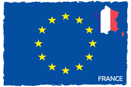 European Union Flag & France Map With Flag. EU Member. Hand Painted with Brush. Vector Illustration.