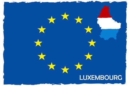 European Union Flag & Luxembourg Map With Flag. EU Member. Hand Painted with Brush. Vector Illustration. Illustration