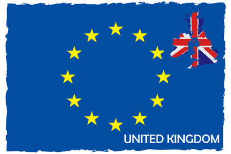 European Union Flag & United Kingdom Map With Flag. EU Member. Hand Painted with Brush. Vector Illustration.