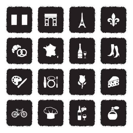 French Culture Icons. Grunge Black Flat Design. Vector Illustration. Illustration
