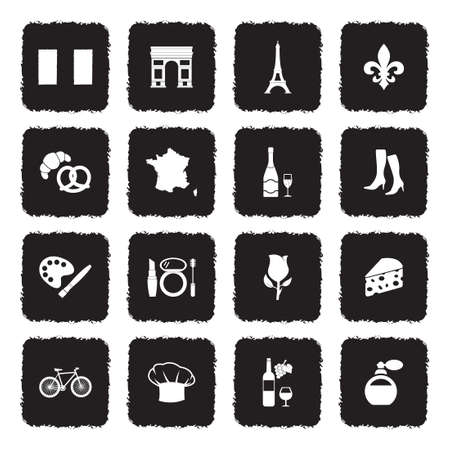 French Culture Icons. Grunge Black Flat Design. Vector Illustration. Vettoriali