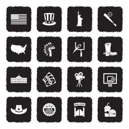 American Culture Icons. Grunge Black Flat Design. Vector Illustration.