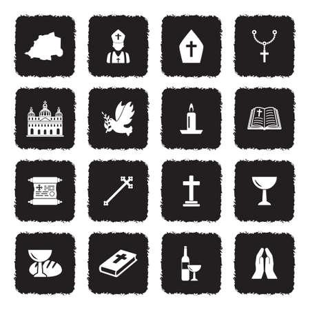 Vatican Icons. Grunge Black Flat Design. Vector Illustration.
