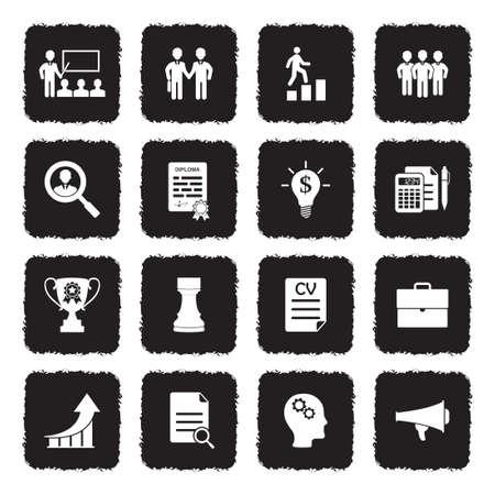Career And Business Icons. Grunge Black Flat Design. Vector Illustration.