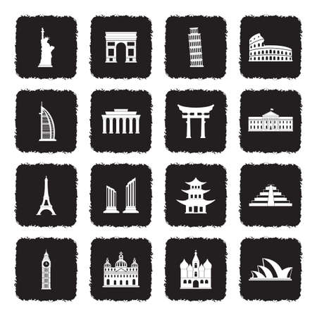 Landmarks Of The World Icons. Grunge Black Flat Design. Vector Illustration. Ilustração