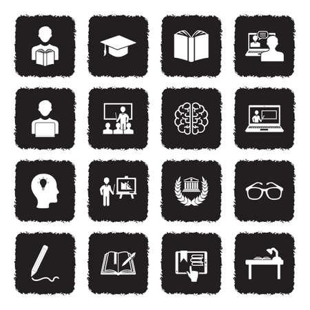 Icônes d & # 39 ; apprentissage . design plat noir grunge. illustration vectorielle Banque d'images - 107000311
